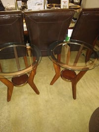 Brass glass/wood tables