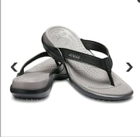 New black and grey Crocs Capri IV flip flops