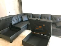 Brand New Black Faux Leather Sectional Sofa Couch  Silver Spring, 20910