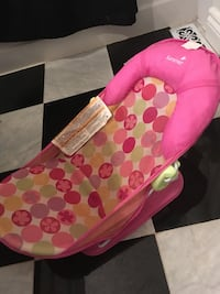 baby's pink and green floral Summer bather