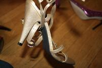 pair of gray leather open toe ankle strap heels Edison