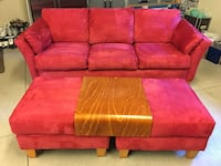 Red ultra suede sofa with 2 ottomans.  Perfect condition! Redmond