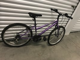 Purple and black city bicycle
