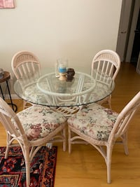 Glass dining table set of 4