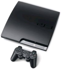 black  PS3 with  2 controllers and 3 games  Brampton, L6S 2X1