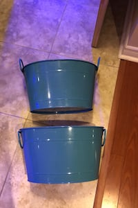 Blue metal containers - decoration