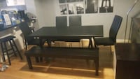 Wooden black dining table with 4 chairs and a bench Milton, L9T 0Y8