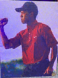 6/25 Tiger Woods Fist Pump Hand Painted Painting