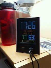 Digital alarm clock with 2 built in USB ports.  33 km