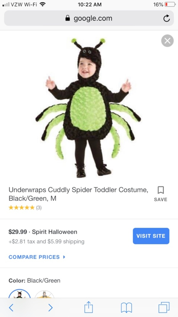 Used Itsy Bitsy Spider Halloween Costume for Toddlers and Infants 18-24mo for sale in Chandler - letgo