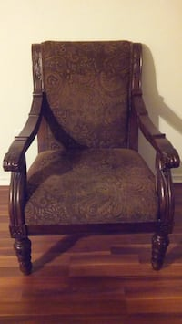 brown suede paisley armchair