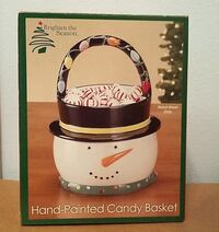 """Adorable Hand-Painted Ceramic Snowman Candy Basket 6""""x6""""x8"""" BRAND NEW Great Hostess Gift Zephyrhills"""