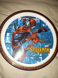 round white and red Spider-Man printed plate