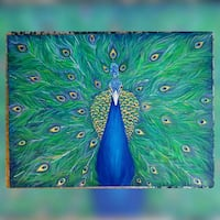 40x30 inches Handpainted peacock acrylic painting  Vaughan, L6A 2V7