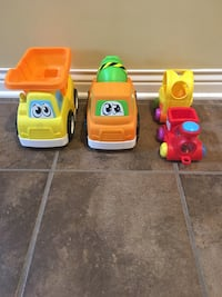 Toy trucks and train