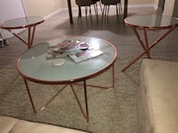 Rose Gold & Frosted Glass coffee & side tables (3pcs) Sacramento, 95826