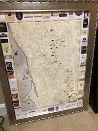 Framed Sonoma Winery Map Ashburn, 20148
