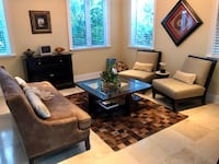 Living room furniture for sale: $475 for all 4 pieces or Sofa $240, 2 chairs $240 & coffee table $50. Miami Shores