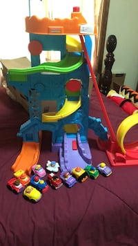 Little People toy car tower