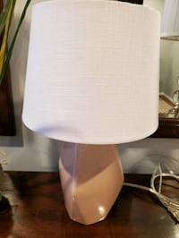 Small light pink lamp with shade