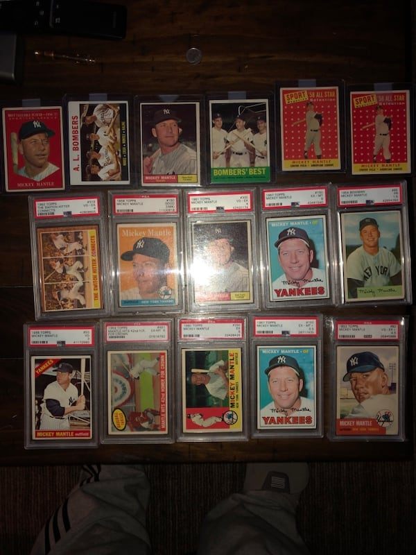 Mickey Mantle. I'm open to offers and trades. I don't need to sell so please don't offer me $150 for all these mantles. I know the value of my cards.also my earliest mantle is a 53 topps and a 54 bowman quite a few others 76d715c8-8f5c-446d-8f96-cbc0709552df