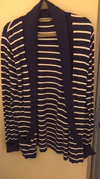 Long navy striped cardigan, size small, soft, pockets Edmonton, T5Y 1M3