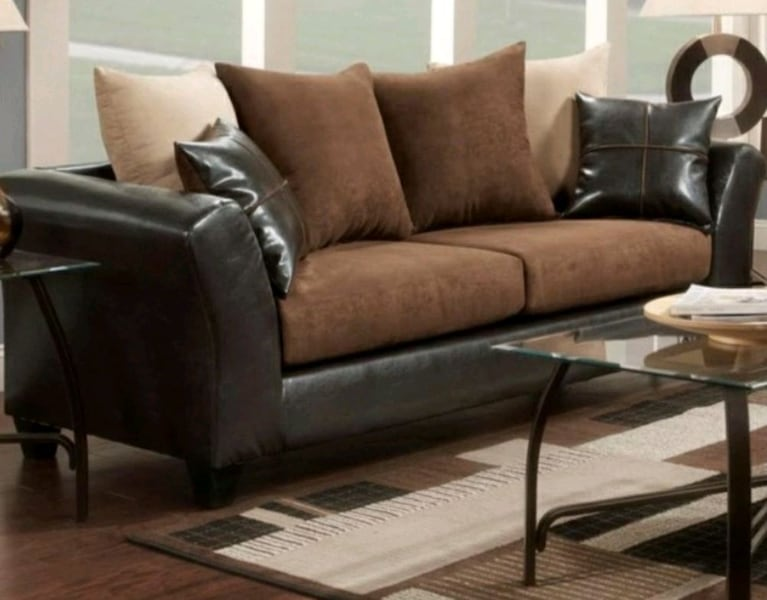 Leather and Suede Couch   ded5e67e-c880-407f-9944-f6dc9497247e