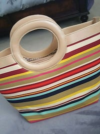 red, yellow, beige, and teal stripe leather handba Markham, L3R 7C4