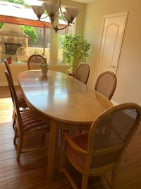 Oak dining set with 6 chairs table covers with 2 leaves