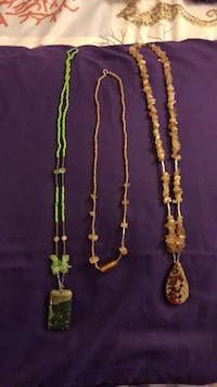 One topaz chips necklace, two beaded necklaces; one green and the other beaded with topaz chips Henderson, 89011
