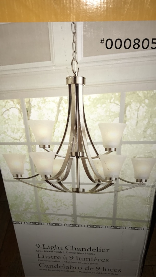 Portfolio Lyndsay 30 In 9 Light Satin Nickel Etched Gl Shaded Chandelier