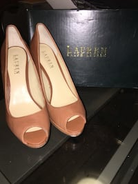 Genuine leather Ralph Lauren peep toes, worn once, excellent condition size 8