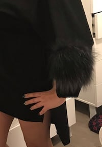 Fendi style wool sweater with 2 pieces real fur on sleeves Vaughan, L6A