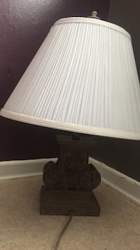 brown wooden base white lampshade table lamp London, N6E 2A1