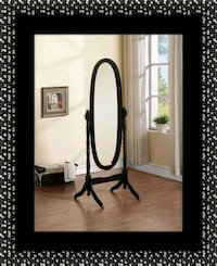 Black swivel oval mirror Laurel