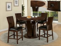 Daria Brown/Espresso Round Counter Height Dining Set | 2734 Ashburn