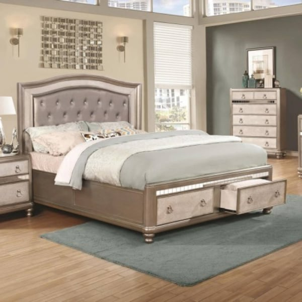 Bling Game Upholstered Queen Bed with Storage Footboard  - Brand New - Free Home Delivery SF bay area