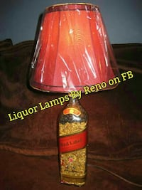 Johnie Walker Red Label bottle base table lamp with red lampshade Macon, 31204
