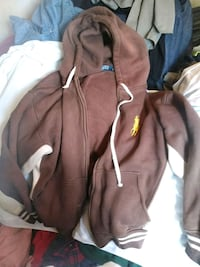 brown and white zip-up hoodie