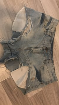 Blå denim distressed korte shorts Inderøy, 7670