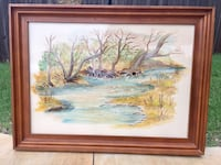 """VTG Large Nature Painting Behind Glass In Wood Frame—32""""X24"""" Norman, 73071"""