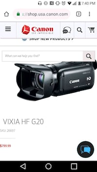 Canon Vixia HF G20 Streaming camera. Washington, 20010