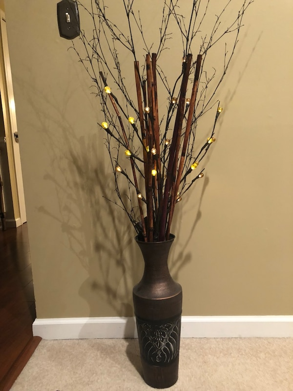 Used 2 Large Brown Metal Vases With Light Up Branches For In Flanders Letgo