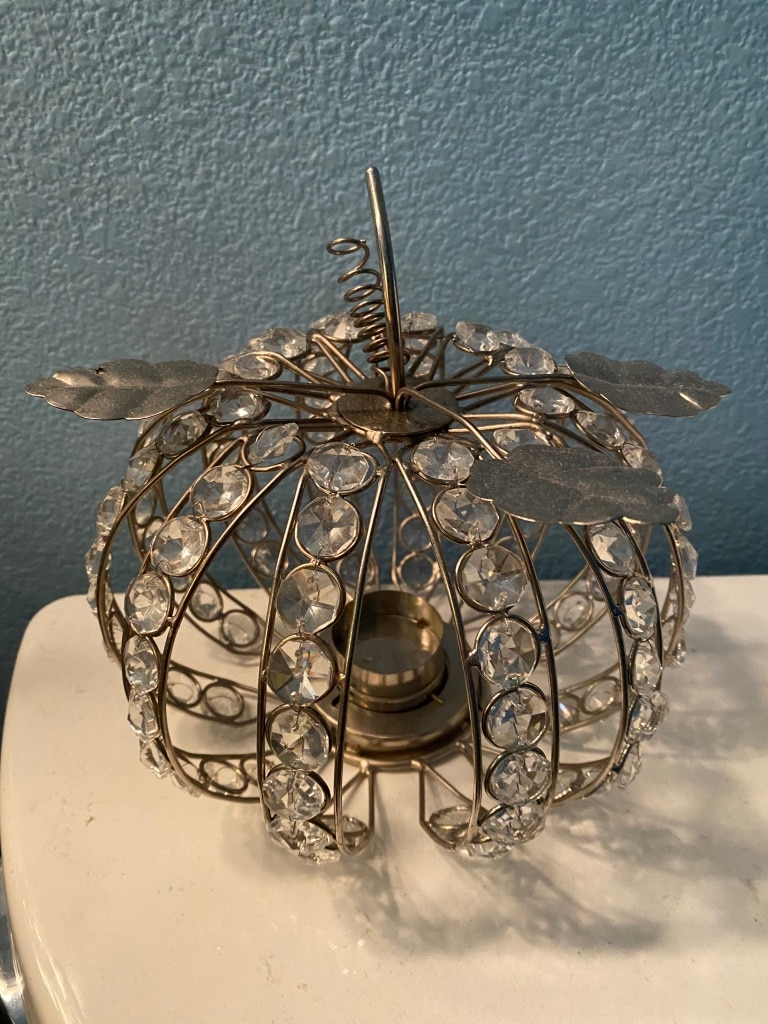 Photo Preloved candle holder with crystals and metal good condition as is