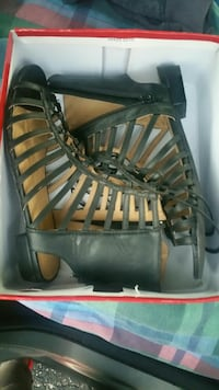 New women size 9 black ghillie gladiator sandal