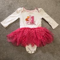 Full sleeves White and pink thanksgiving dress