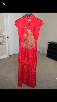 Red sequins long Chinese wedding qipao dress | Red wedding