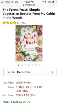 Forest Feast Brand New Hardcover Vegetarian Cookbook Mississauga, L5G