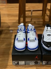 Pair of white-and-blue air jordan 4 Mississauga, L5N 1T1