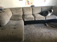 Brown suede sectional sofa